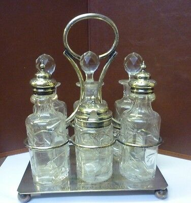 Very Nice Victorian 6 Bottle Silverplated Cruet Dated 1897