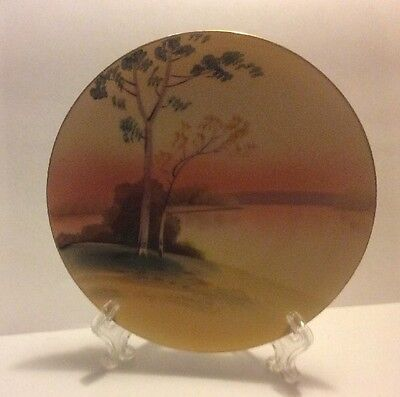 Meito China Hand Painted Gold Rim Decorative Colorful Scenic Sunset & Tree Plate