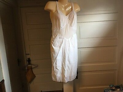 Vintage Cotton/Poly Full Dress Slip White With Eyelet #3 Handmade Professional