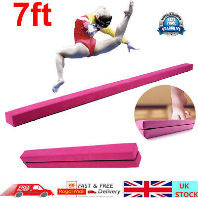 7ft Gymnastics Folding Balance Beam 2.2M Hard Wearing Gym Training Pink -UK Ship