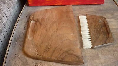 Vintage hard wood crumb dustpan & brush for dining table