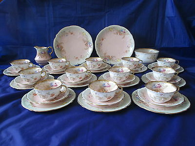 Stunning Victorian 40pc AYNSLEY Floral, Heavily Gilded Tea Set c1891+