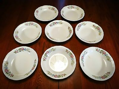 "Edwin Knowles China Co Floral Cream 8 Pie Plates 6 1/8""  Made in USA"