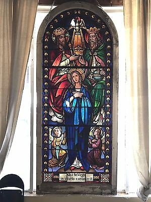 "*GORGEOUS* 1850's MUNICH STYLE Catholic Church Stained Glass Window 103"" x 44"""