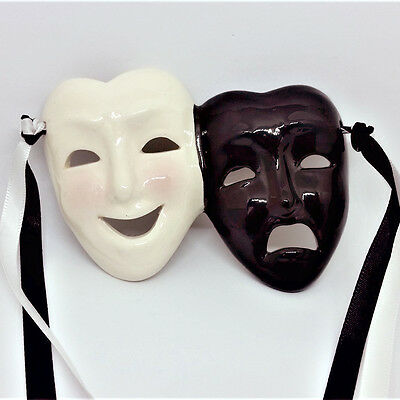 Black & White Ceramic Theater Drama Masks w/ Ribbon Wall Hang - Happy Sad Face