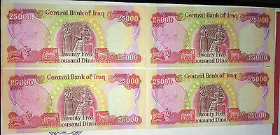 100,000 CRISP Iraqi Dinar 4 x 25,000 25000 UNCIRCULATED Currency IQD