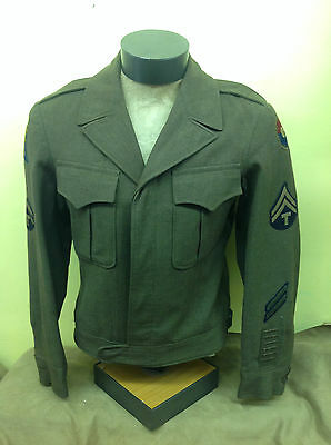 Vintage WW2 US Army Wool Eisenhower Field Jacket Coat Green Size 36R w/PATCHES