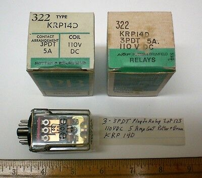 3 Plug-In Relays, 3PDT 110V DC Coils, 5 A Cont. Potter&Brum #KRP14D Lot 123, USA