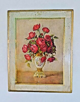 Vintage Italian Hand Made Toleware Florentine Floral Wood Wall Plaque Signed