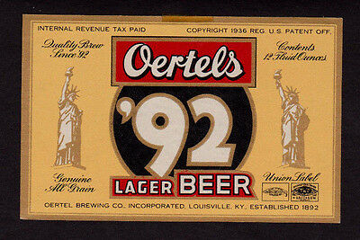c1936 Oertels '92 Lager Beer IRTP Union Label Louisville KY - Statue of Liberty