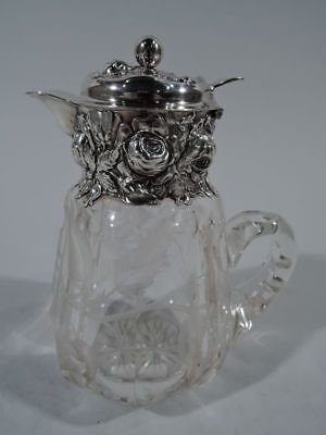 Woodside Jug - 2532 - Antique Repousse Syrup - American Sterling Silver & Glass
