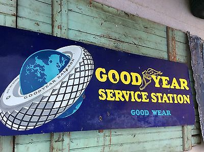 "1920's ""Original"" Goodyear Service Station Porcelain Sign Tire Gas & Oil"