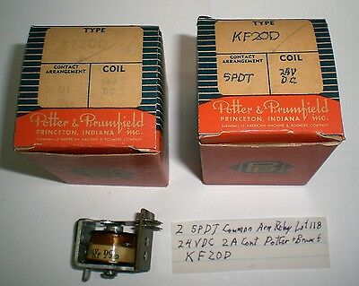 2 Special Relays 24 VDC, 2A Cont. 5PDT Potter&Brum. #KF20D, Lot 118, Made in USA