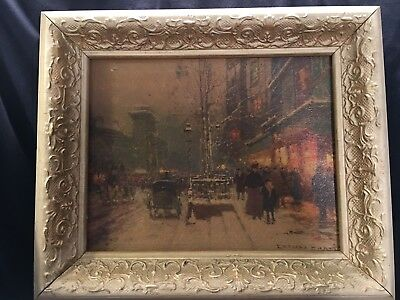 "Vintage wood frame 12.5"" x 10.5"" with old picture"