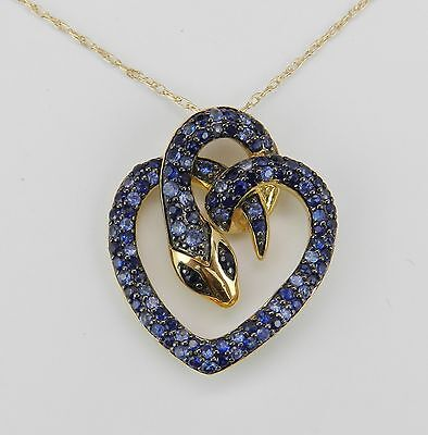 "Sapphire SNAKE Necklace 14K Yellow Gold Pendant 18"" Chain Serpent Heart"