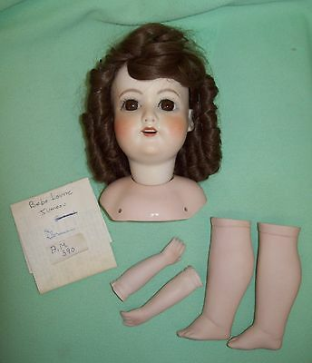 Bebe Jumeau German Bisque Armand Marseille Reproduction DOLL HEAD Arms Legs Wig