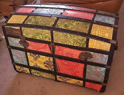 Antique Large Dome Humpback Steamer Trunk Storage Chest Ball Bearing Rollers