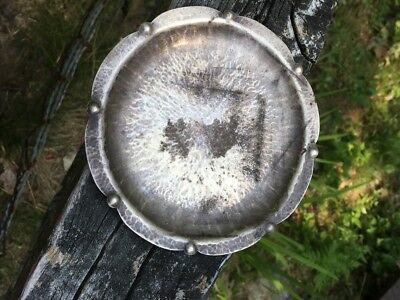 Rare Antique Arts And Crafts Hand Wrought Sterling Silver Dish. Hammered