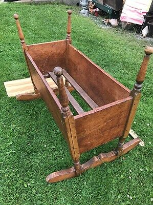 Vintage Antique Wooden Late 1700s Baby Cradle / Bed - Very Rare