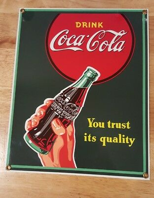 """Coca-Cola """"YOU TRUST IT'S QUALITY"""" Porcelain Ande Rooney Coke sign RARE!"""