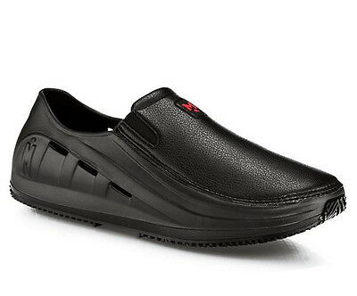 Mozo SHARKZ M43812 Mens Black Vegan Slip On Water Slip Resistant Work Shoes