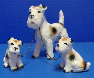 Vintage Jack Russell Terrier Dog with Puppies on a chain Figurine Japan