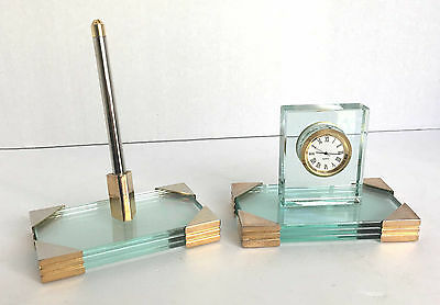 Glass and Brass Clock Thermometer and Pen Desk Set