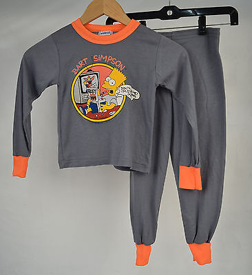 Pajama Set Bart Simpson Don't Bug Me Gray Orange 5/6 Kids US Vintage 1990