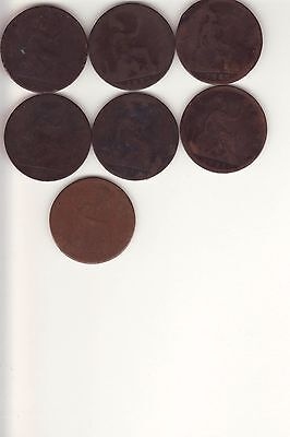 1881-1892  GREAT BRITAIN  Large Cent Penny  Lot 7 coins   VICTORIA