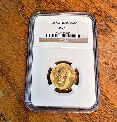 1925 G.Britain 1SOV NGC Certified MS65 Mint State British Gold Sovereign Coin