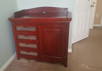 Baby Changing Table/Dresser with 4 Drawers& separate compartment - Cherry Wood
