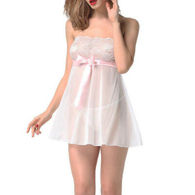 White M Through Lace Chemise Babydoll Nightie Nightwear Nightdress Sleepwear