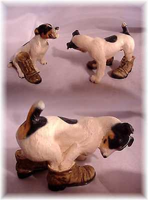 2 NORTH LIGHT ENGLAND JACK RUSSELL TERRIER? DOG PLAYING w SHOES BOOTS FIGURES (D