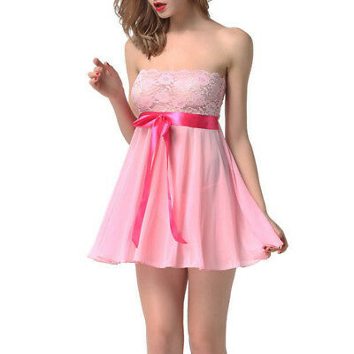 Pink M See Through Lace Chemise Babydoll Nightie Nightwear Nightdress Sleepwear