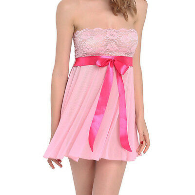 Pink XL See Through Lace Chemise Pajama Babydoll Nightwear Nightdress Sleepwear