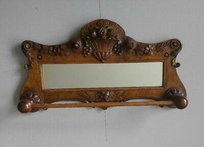 Antique VNTG 19th Victorian Carved Fruits Floral Ornate Wall Mirror & Towel Rack