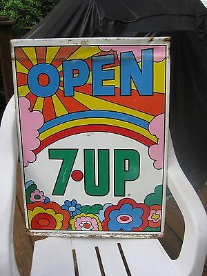 Vintage 70's Peter Max Design 7-Up Double Sided Sign