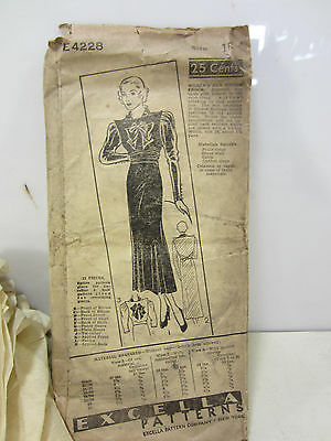 1930's? Excella Ladies Puffy Sleeve A-Line Dress Pattern