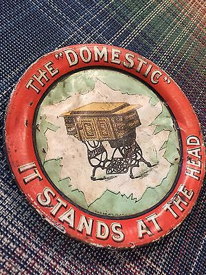 Antique 1900's  Advertising Tray Domestic Sewing Machine Tip Sign Vintage