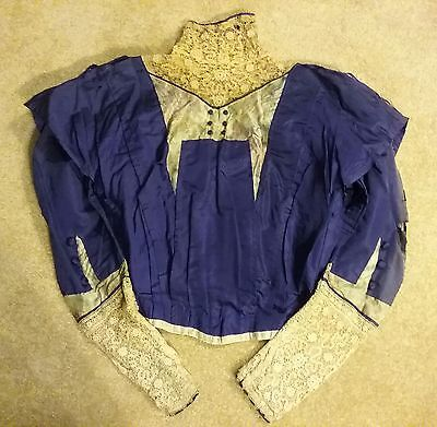 Early 1900s Edwardian Silk and Lace Bodice Blouse