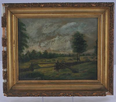 19th C NEW ENGLAND LANDSCAPE OIL PAINTING on CANVAS ANTIQUE