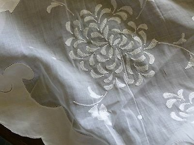 "Vintage MADEIRA OVAL Organdy Linen Applique Tablecloth 123"" Chysanthemum Gremio"