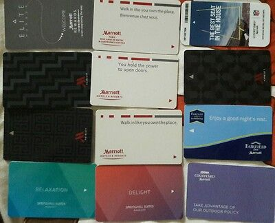Lot of 12 Marriott Hotel and affiliates room key cards. All different.
