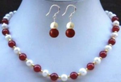 """8mm Natural Red Jade Beads White Akoya Cultural Pearl Necklace 18""""+Earrings"""