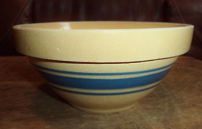 "Antique Primitive Hoosier Blue 3 Band Mocha Yellowware Yellow ware 7"" bowl Hull"