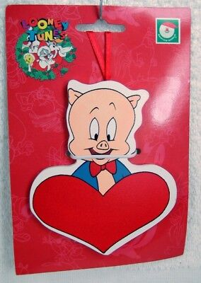 Looney Tunes PORKY PIG with Heart WOOD Xmas Ornament