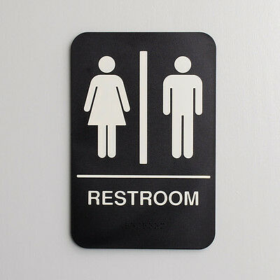 """ADA UNISEX RESTROOM SIGN  BRAILLE AT BOTTOM  9"""" X 6""""  Free Shipping US only"""