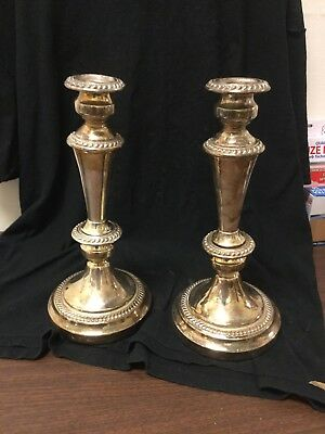 Antique Pair English Silverplate Candlesticks Unscrew