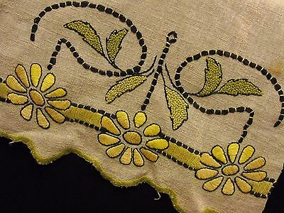 Antique Arts & Crafts Mission Bungalow Oatmeal Linen Embroidered Runner Scarf