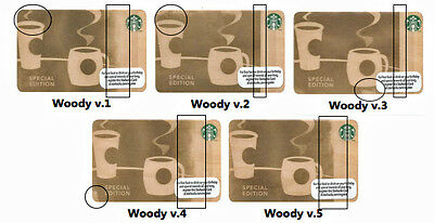 Lot of 5 Birch Wood (w/ 5 Design Variations) Collectible Starbucks Gift Cards